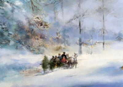 weihnachten winterwald illustration